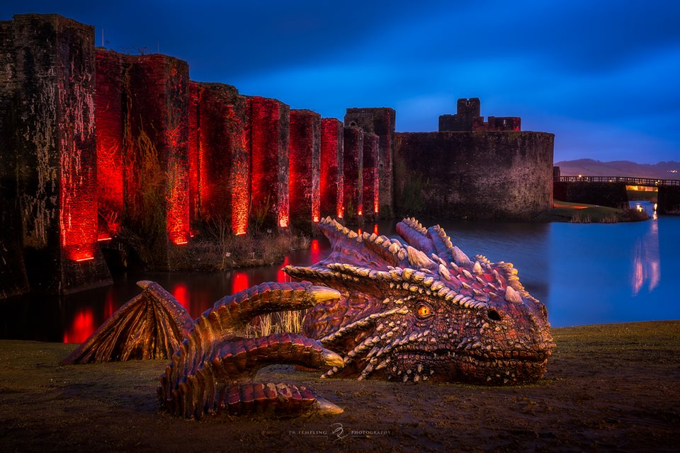 Dragon on the banks of Caerphilly caslte. Photograph blatantly nicked from Paul Templing, photographer https://www.facebook.com/PTempling